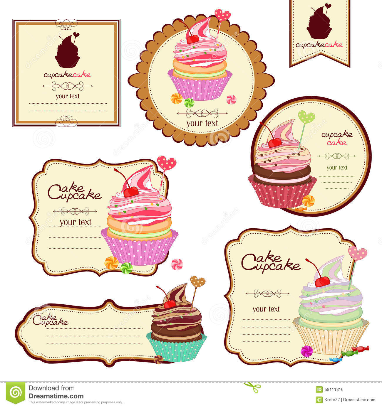 Vector Set Of Labels With Sweets A Sticker For Stock
