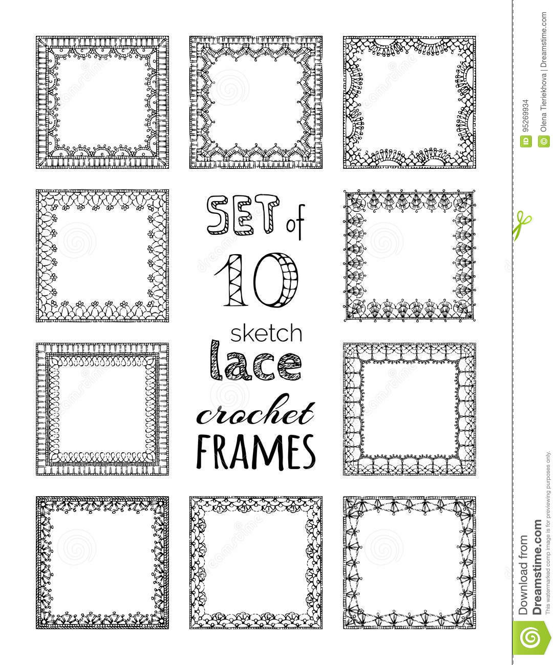 Vector Set Of 10 Lace Crochet Square Frames Stock Vector