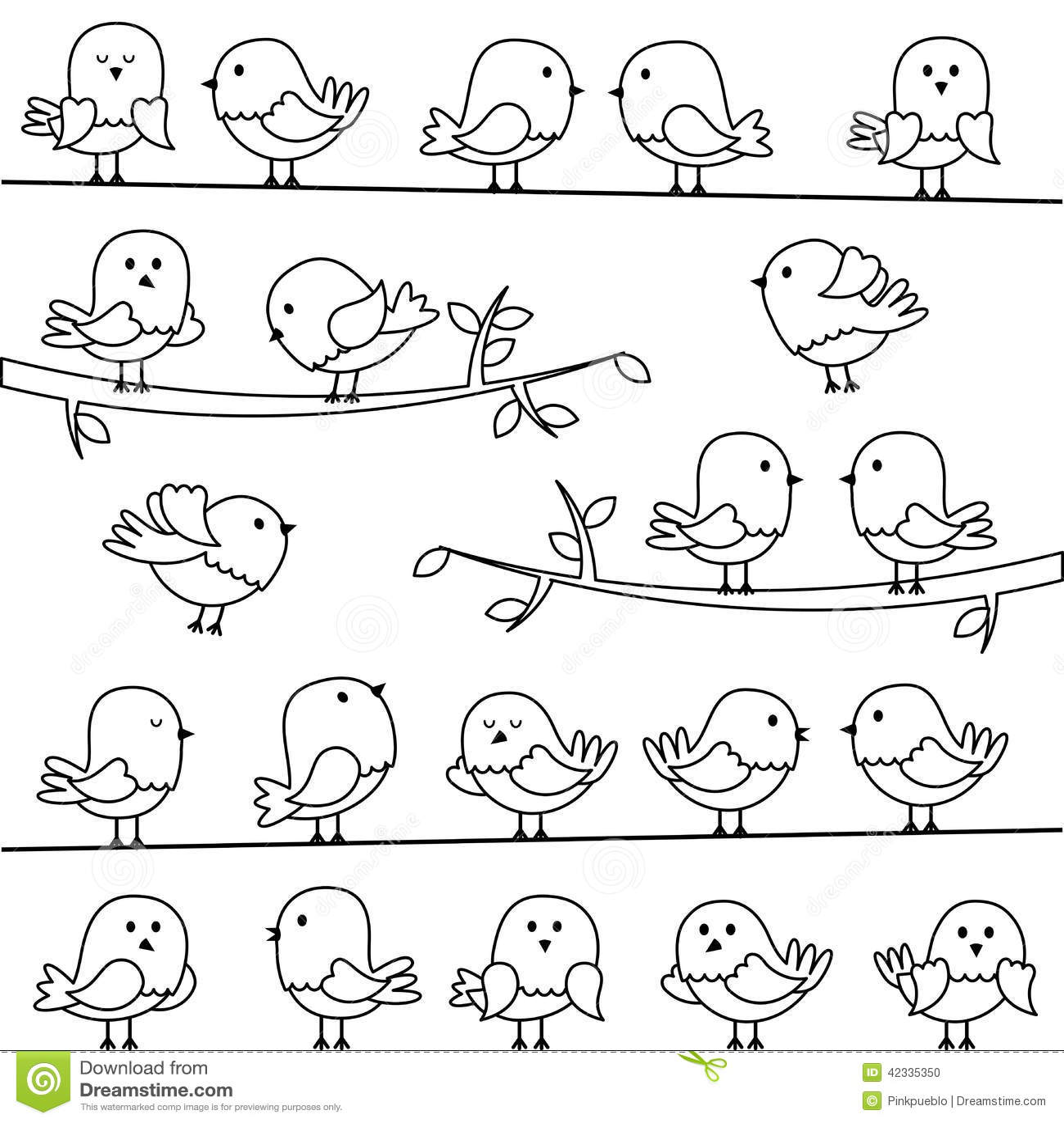 Line Art Cartoon : Vector set of line art cartoon birds stock