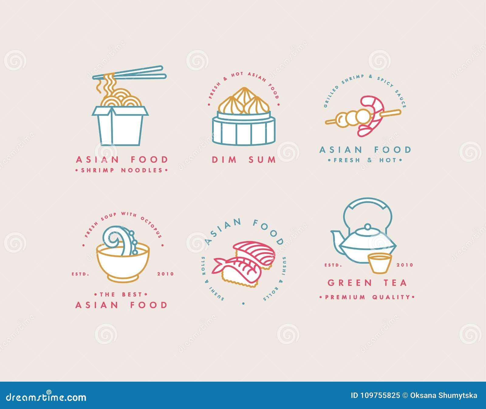 Vector Set Of Logo Design Templates And Emblems Or Badges Asian - Logo creator templates