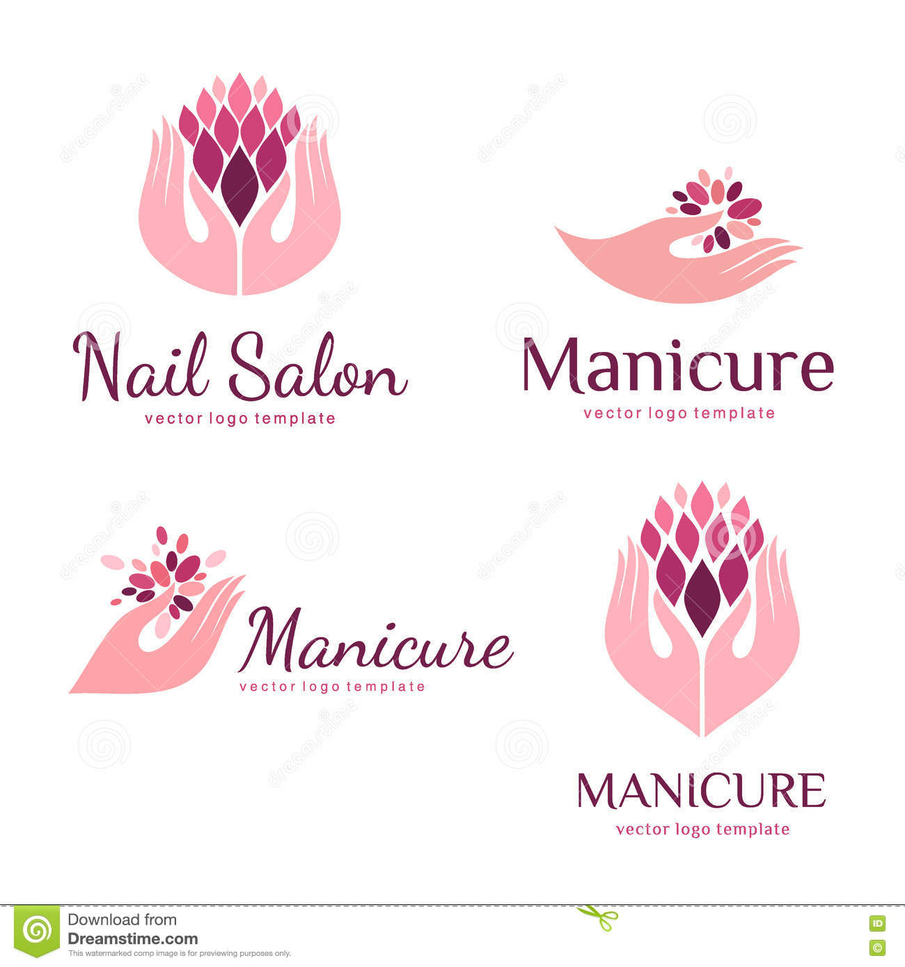 vector set of logos for manicure and nail salon stock