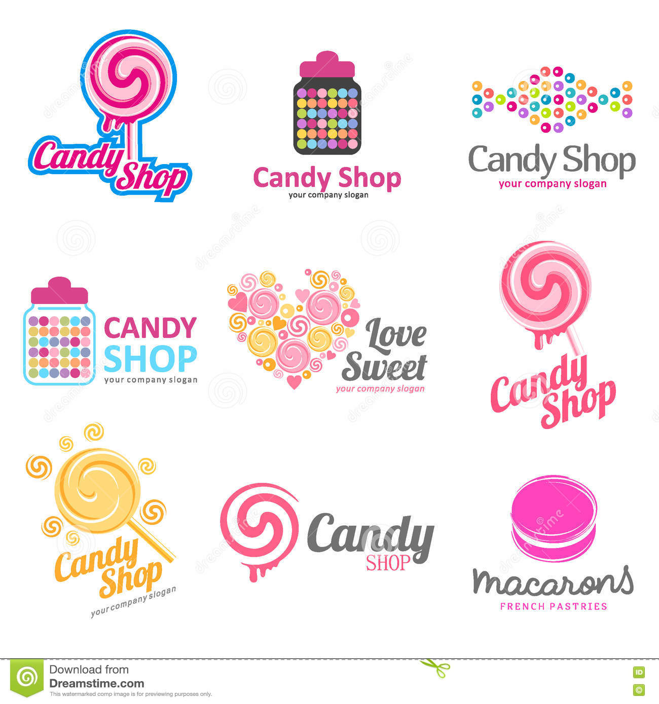 vector set of logos for sweets candy shop boutique