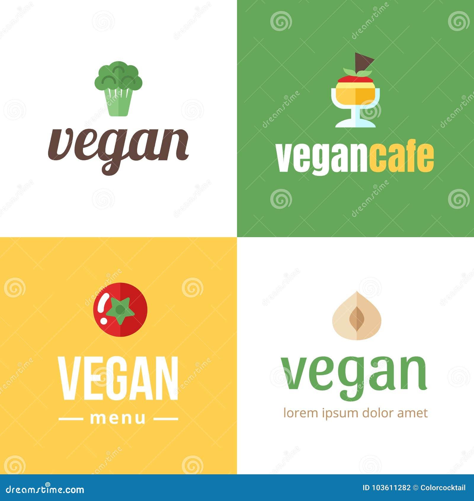 Vegan Logo Template  Flat Style  Stock Vector - Illustration of