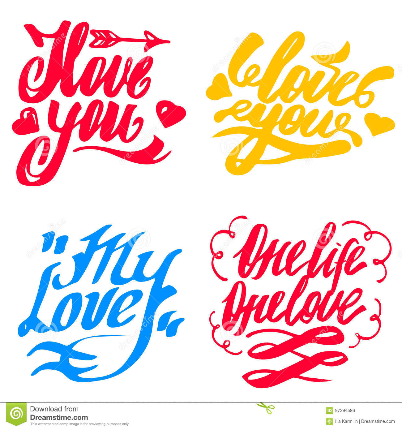 Vector Set Of Love Happy Valentines Day Hand Lettering Signs Stock
