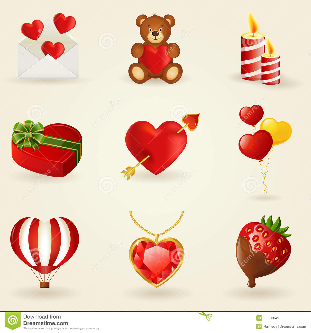 Vector set of love and romantic icons.