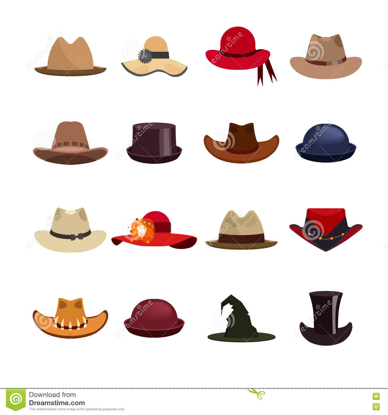 Different Styles Of Hats: Vector Set Of Man And Woman Hats. Stock Vector