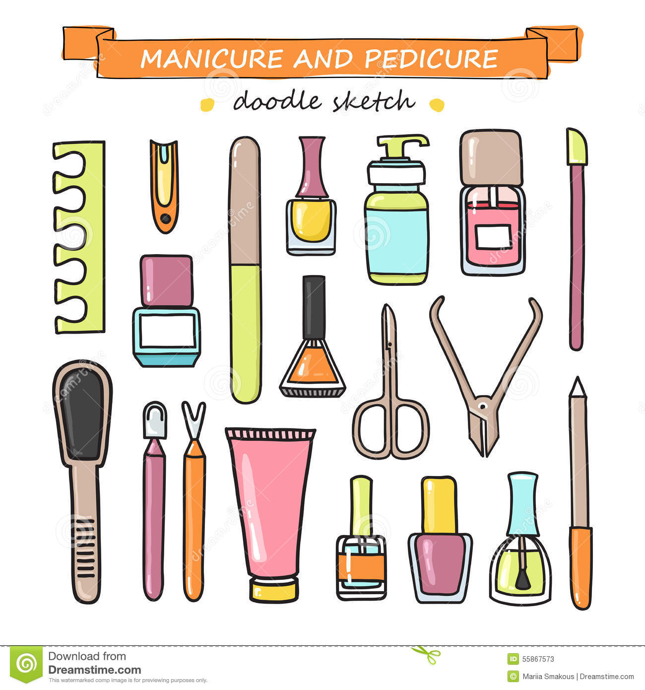 Vector set of manicure and pedicure doodle equipment for Nail salon equipment and supplies