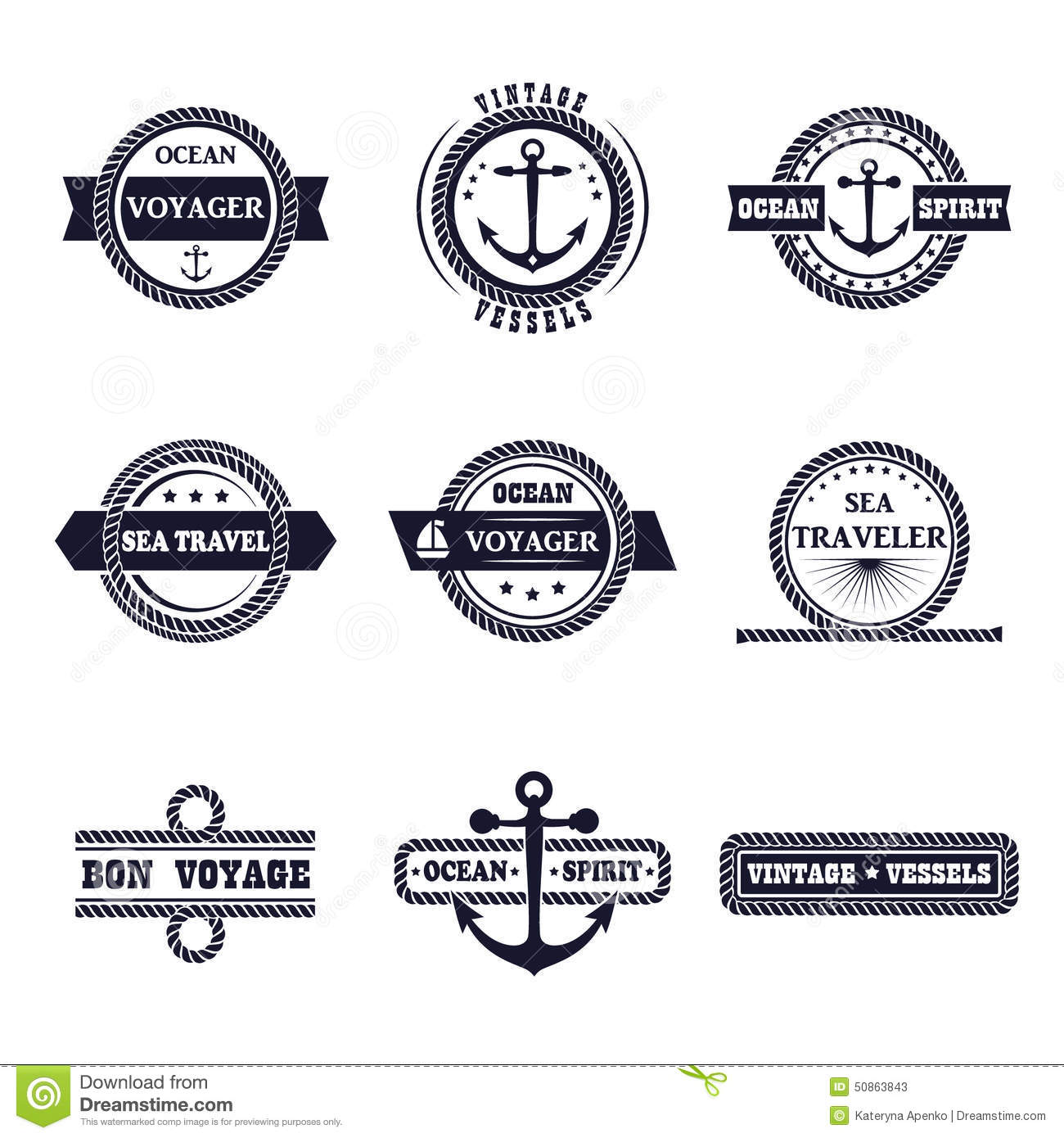 Vector Set Of Marine Style Labels Stock Illustration ...