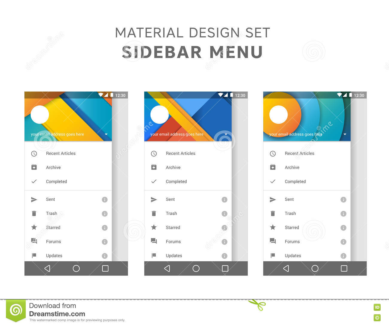Vector set of material design sidebar menu templates mail for User interface design document template