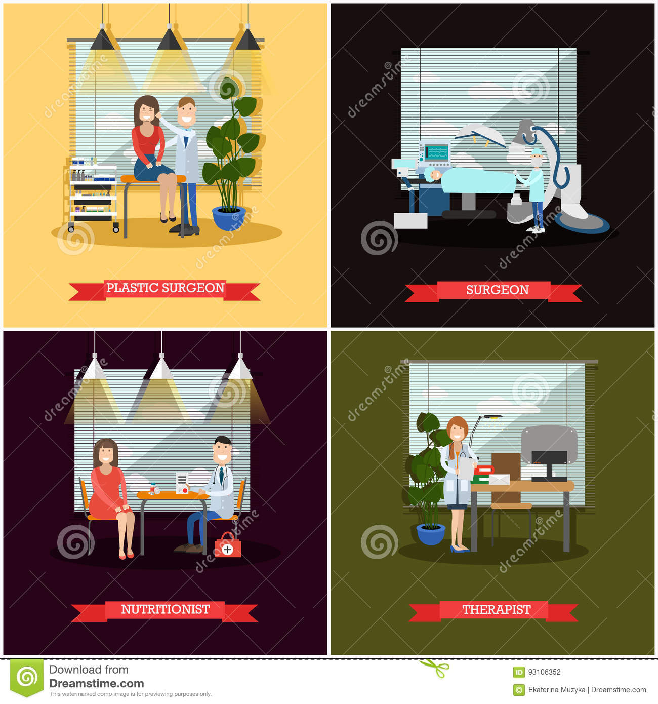 vector set of medical doctors posters in flat style stock vector