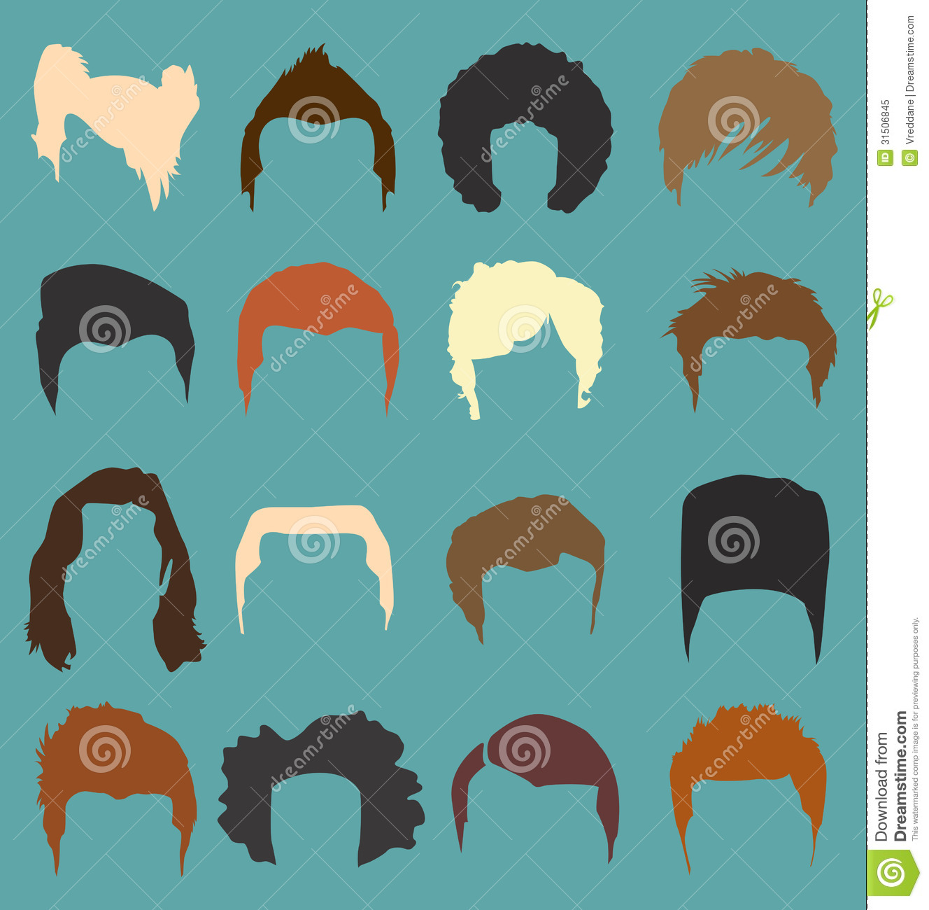 Afro Hair Vector Vector Set Mens Hair Style
