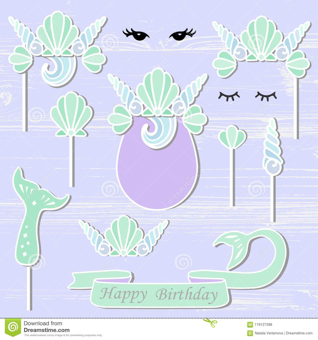 Vector Set With Mermaids Sea Shell Crown Tail Eyes Stock