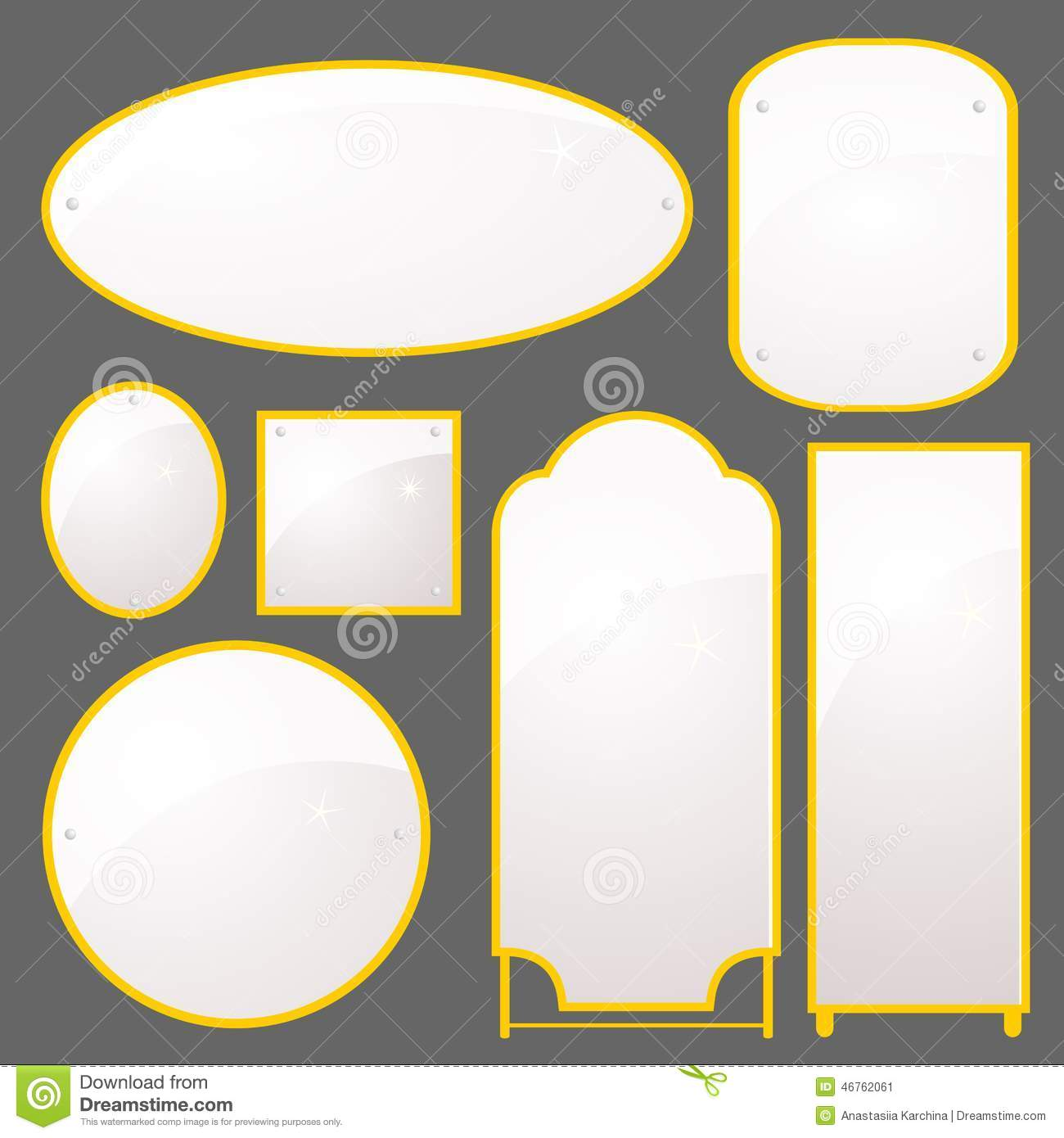 Vector set of mirrors of different shapes stock vector vector set of mirrors of different shapes jeuxipadfo Images