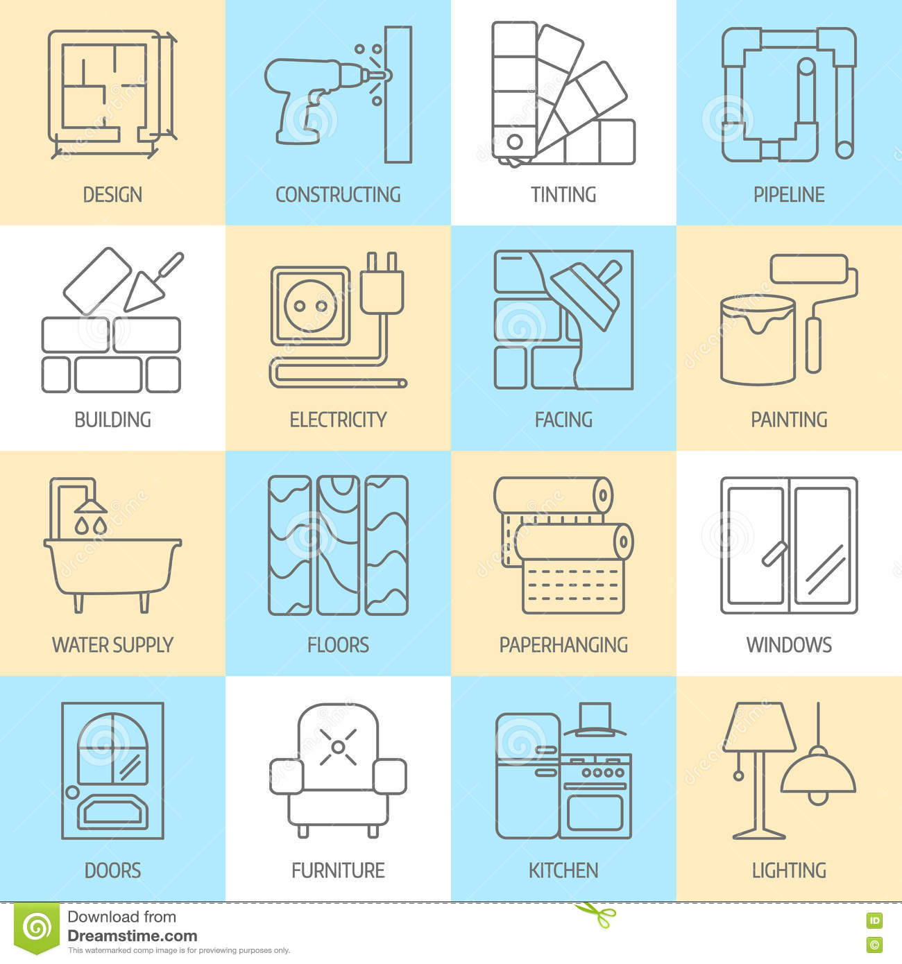 Vector Set Of Modern Flat Line Icons For House