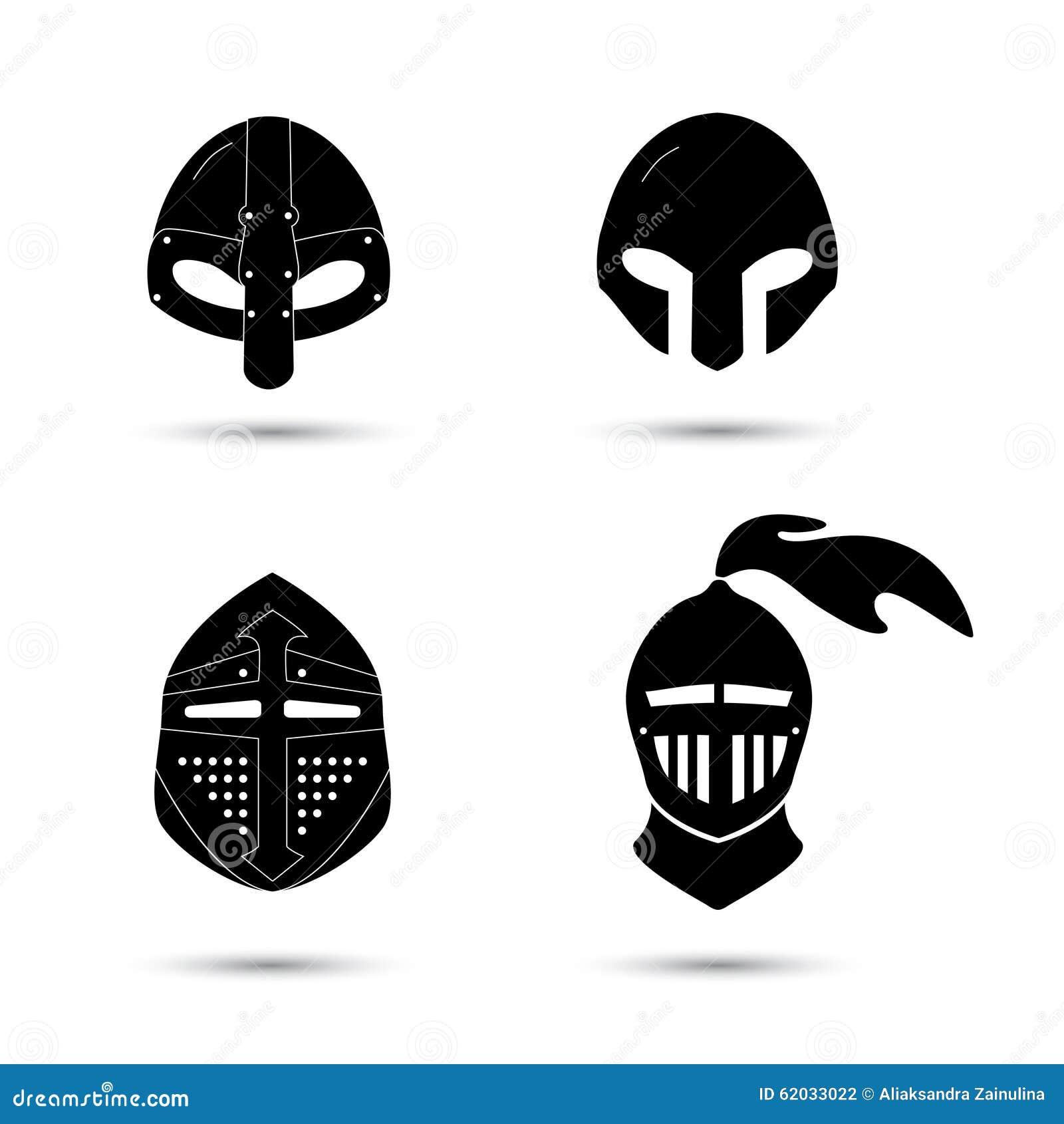 Vector Set Of Monochrome Knight Helmets Stock Vector ...