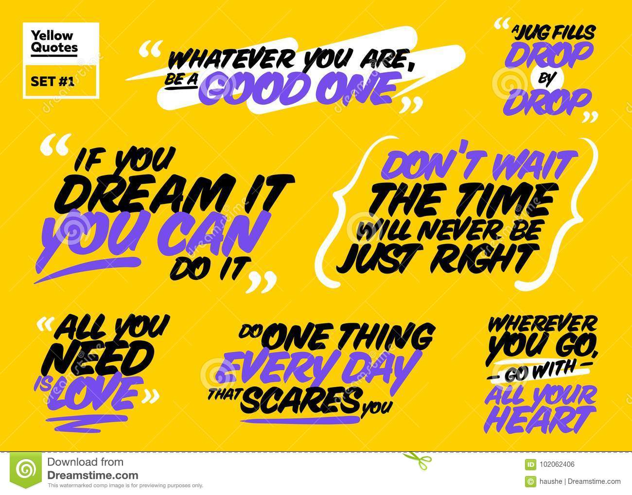 Vector Set Of Motivational Quotes  Inspiring Short Phrases  Stock