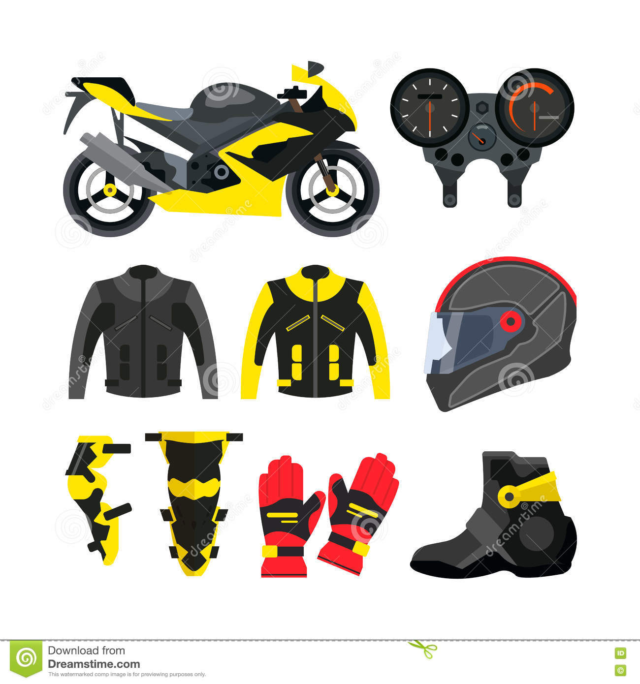 Motorcycle Parts In Delaware Mail: Motorcycle Helmet, Gloves And Boots. Royalty-Free Stock
