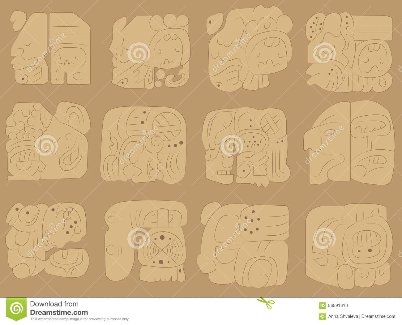 Vector set of murals of the maya stock vector image for Mural vector