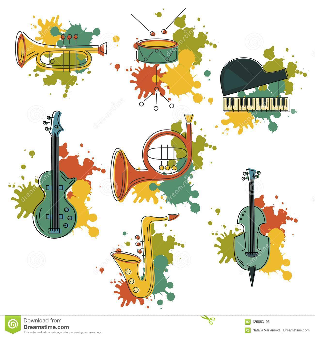 Vector Set With Music Instrument Stock Illustration