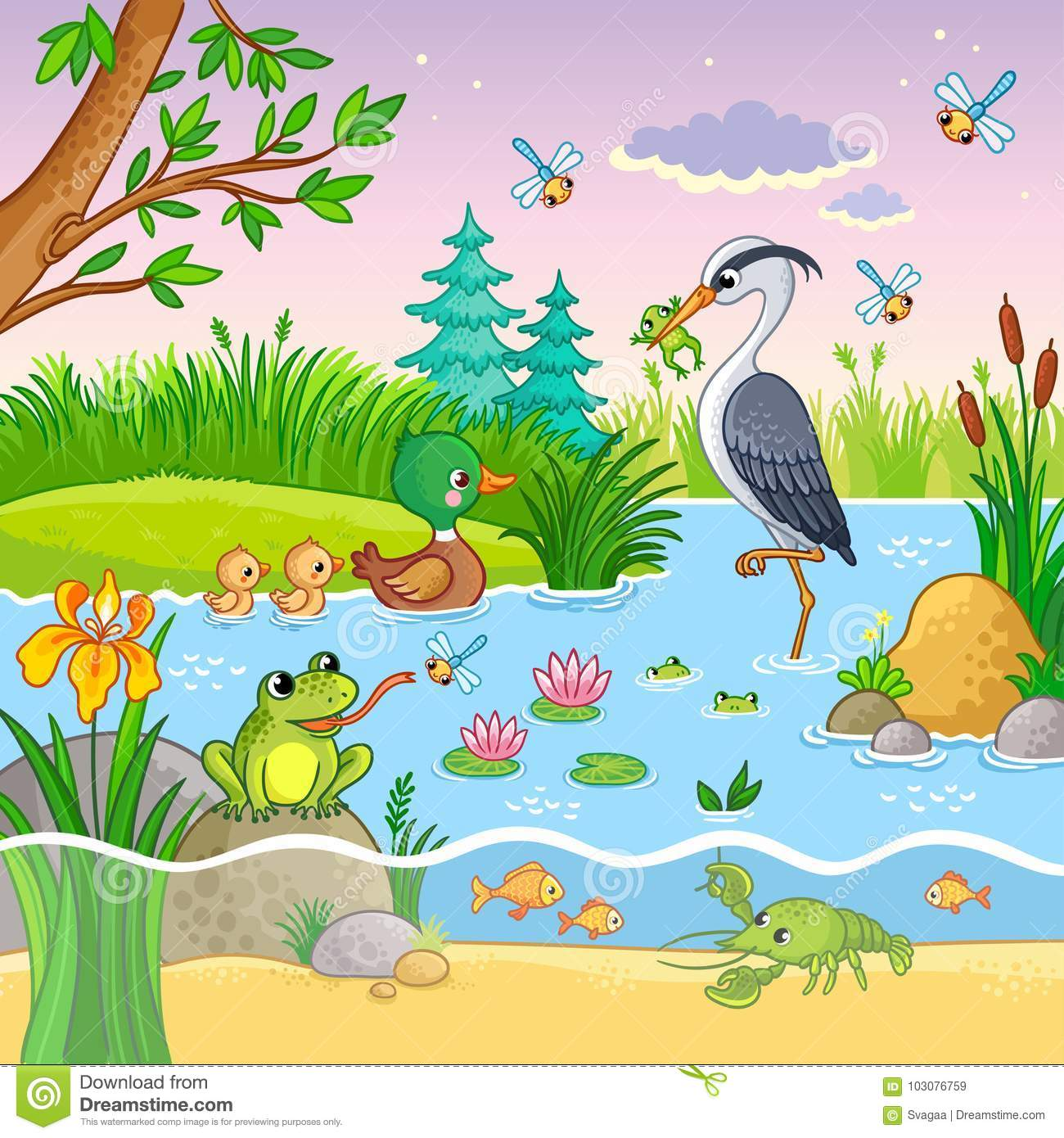 Vector Set With Nature And Animals In The Children`s ...