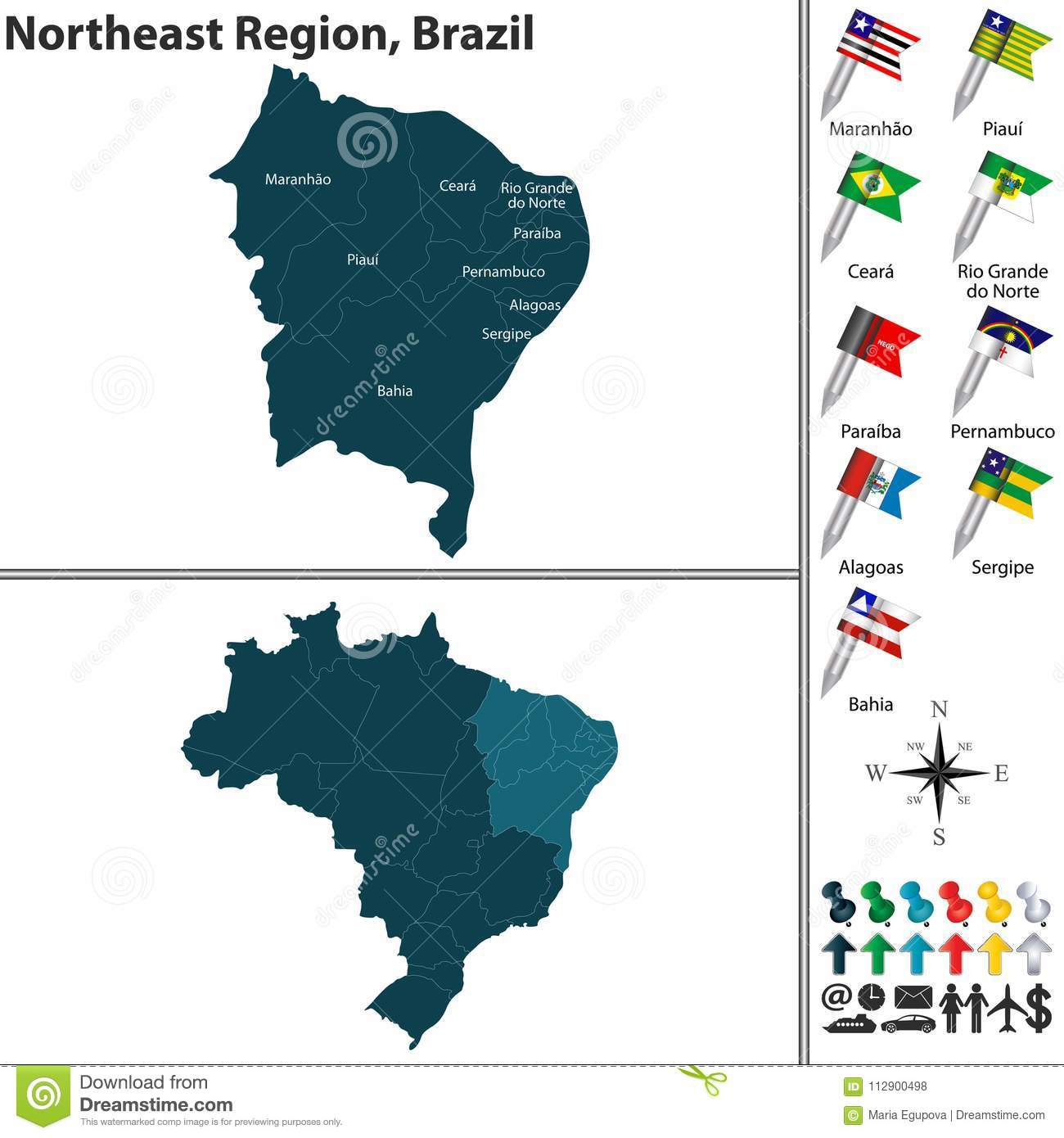 Northeast Region of Brazil stock vector. Illustration of maranhao ...