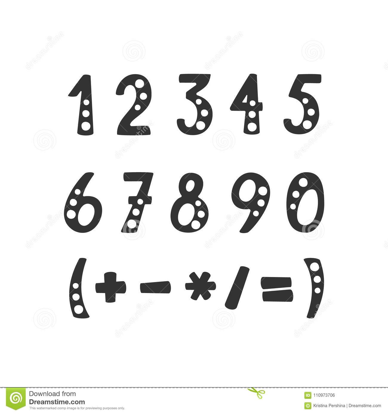 Vector Set Of Numbers And Mathematical Symbols Stock Vector