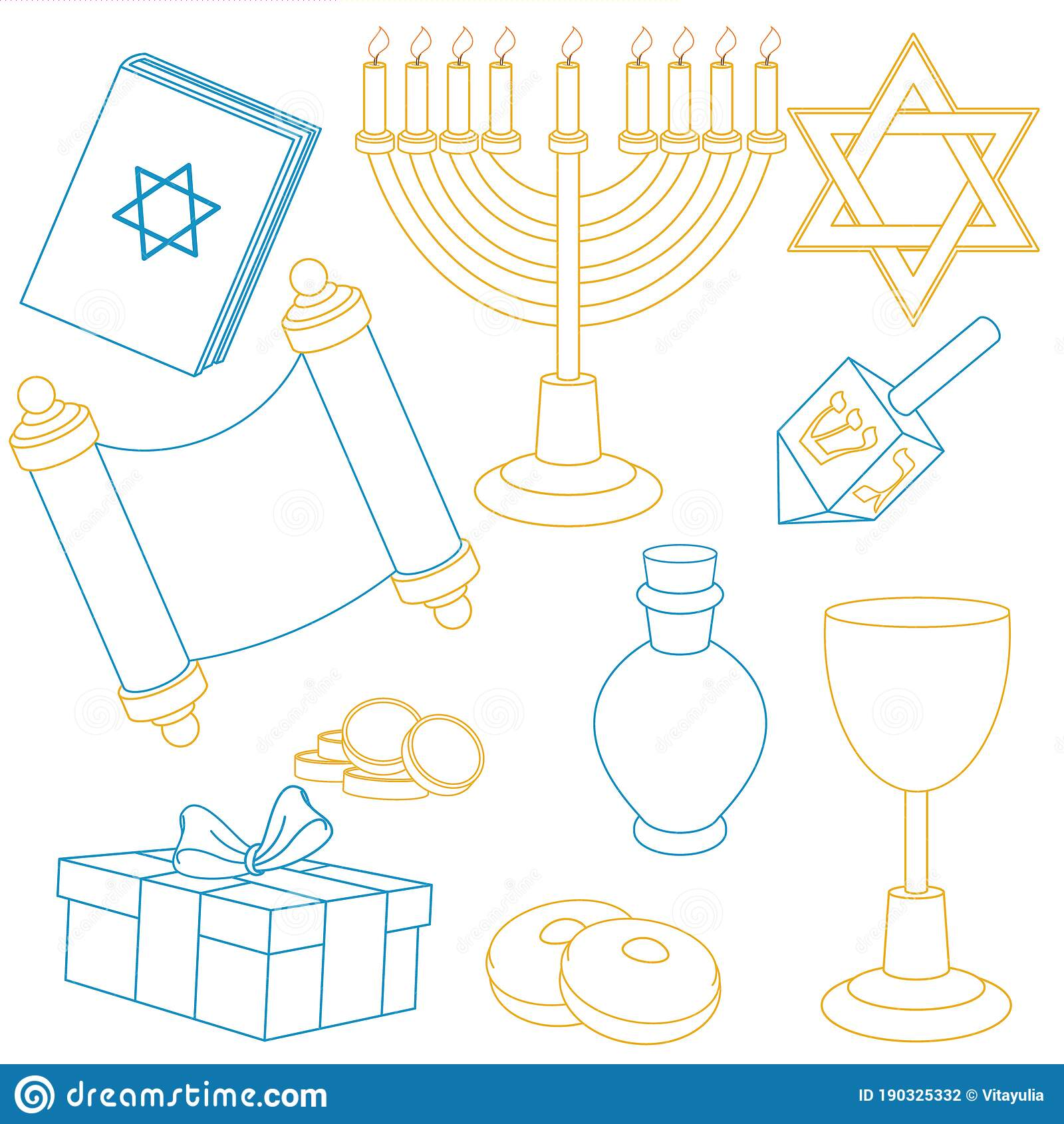 Vector Set Of Objects For The Hanukkah Holiday Stock Vector Illustration Of Gift Holder 190325332