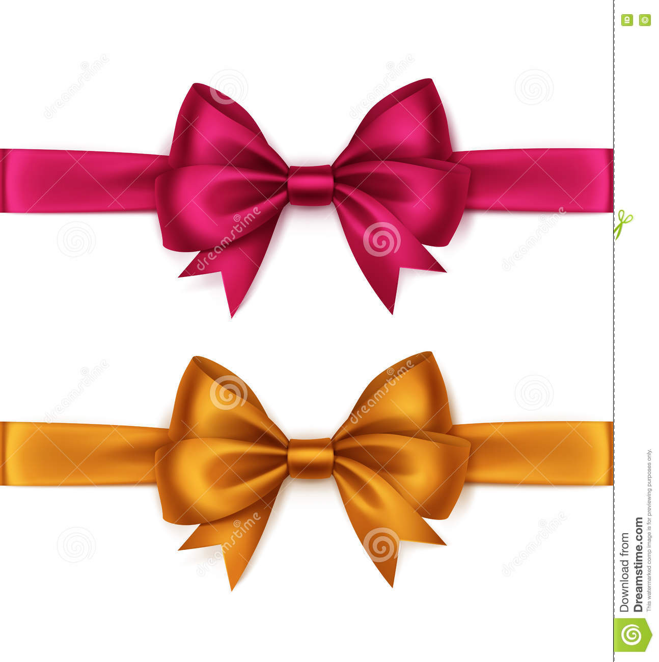 5dc3ebe63ec0d Vector Set of Shiny Orange Bright Pink Magenta Satin Bows and Ribbons Top  View Close up Isolated on White Background