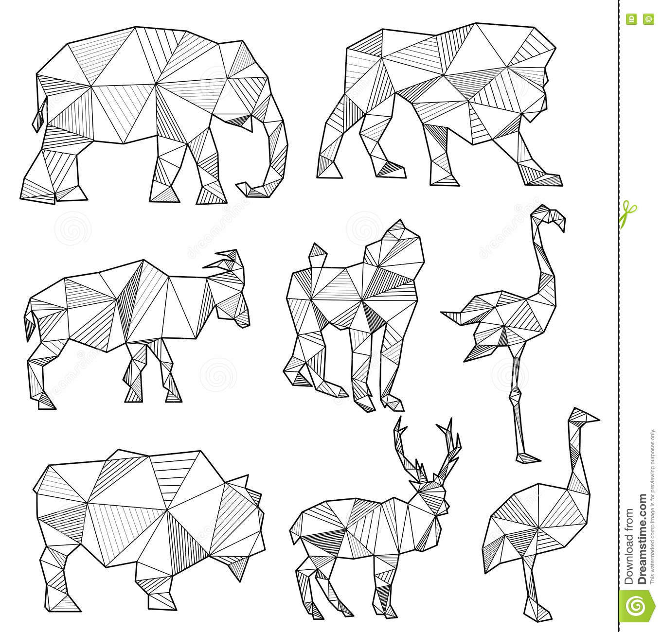vector set of origami animal silhouettes vector illustration