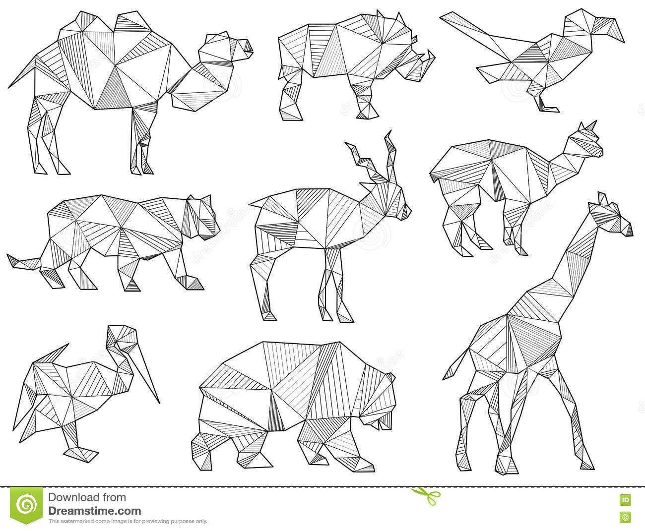 Vector Set Of Origami Wild Animal Silhouettes Stock