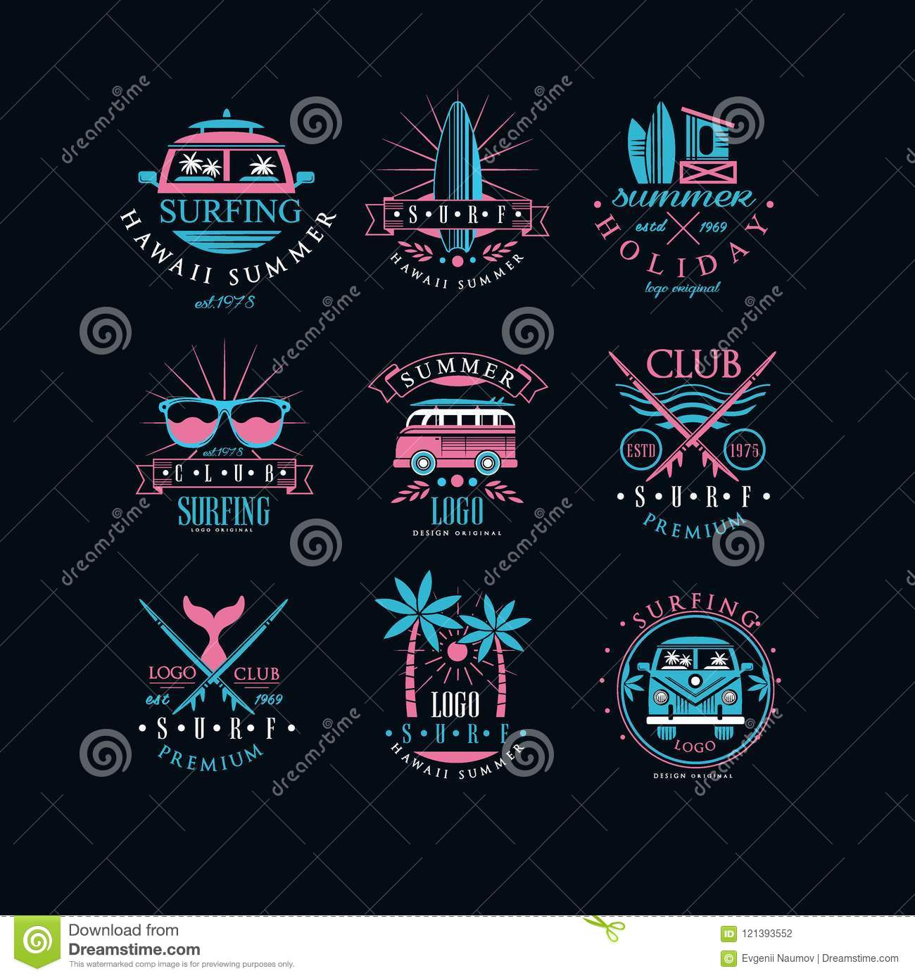 vector set of original emblems for surfing club vintage logos with