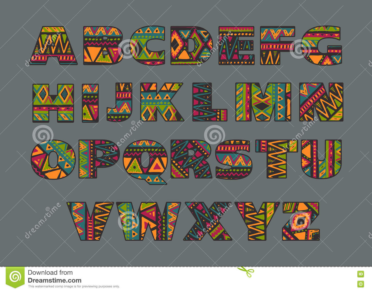 Vector Set Of Ornate Capital Letters With Abstract Ethnic