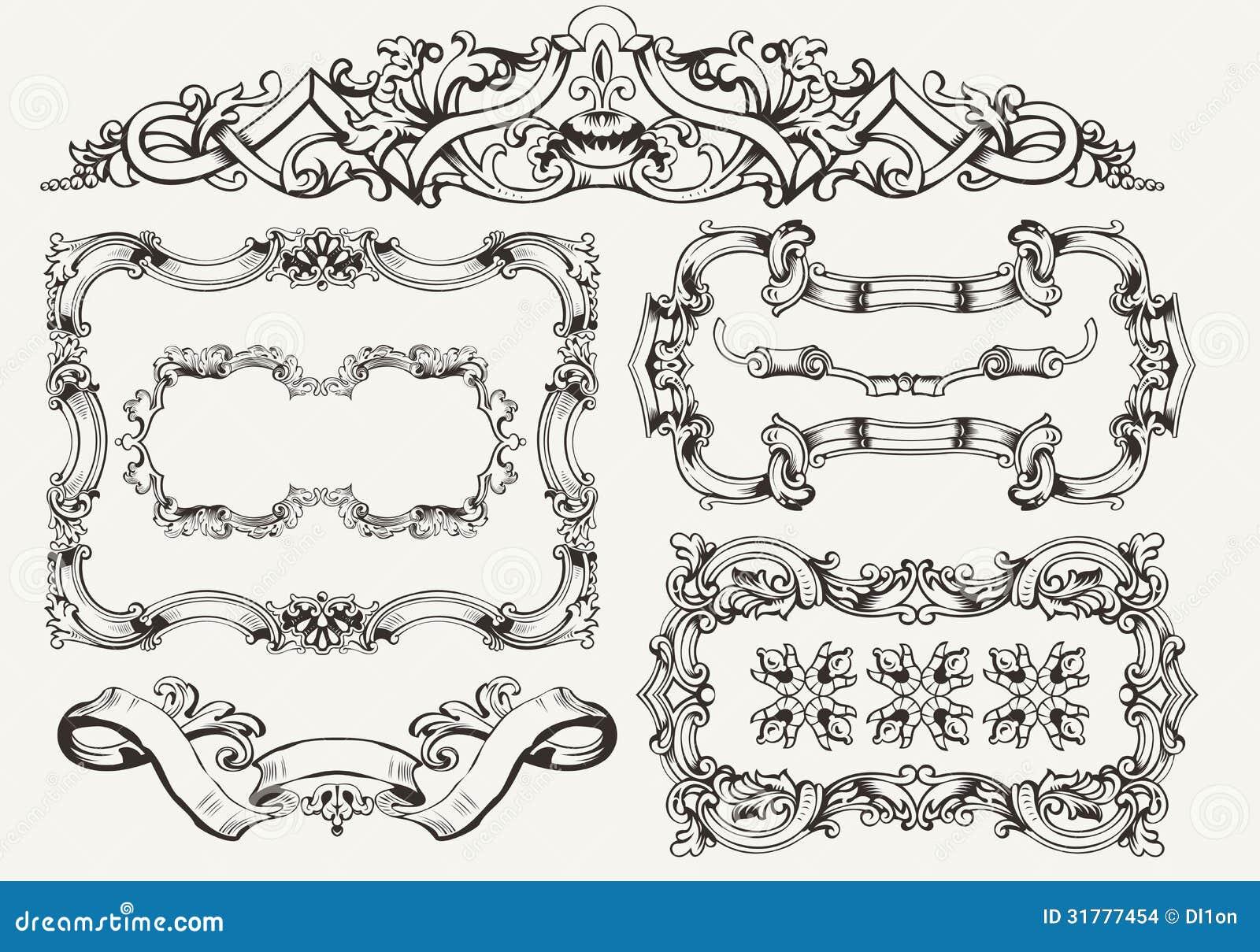 Vector set: ornate vintage frames