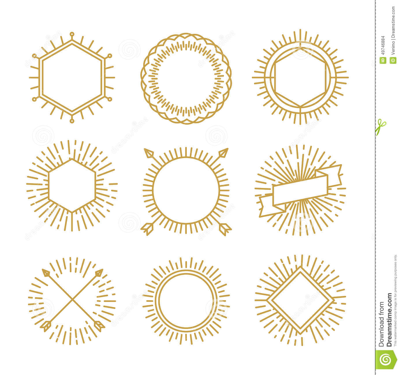 vector set of outline emblems and badges stock vector illustration