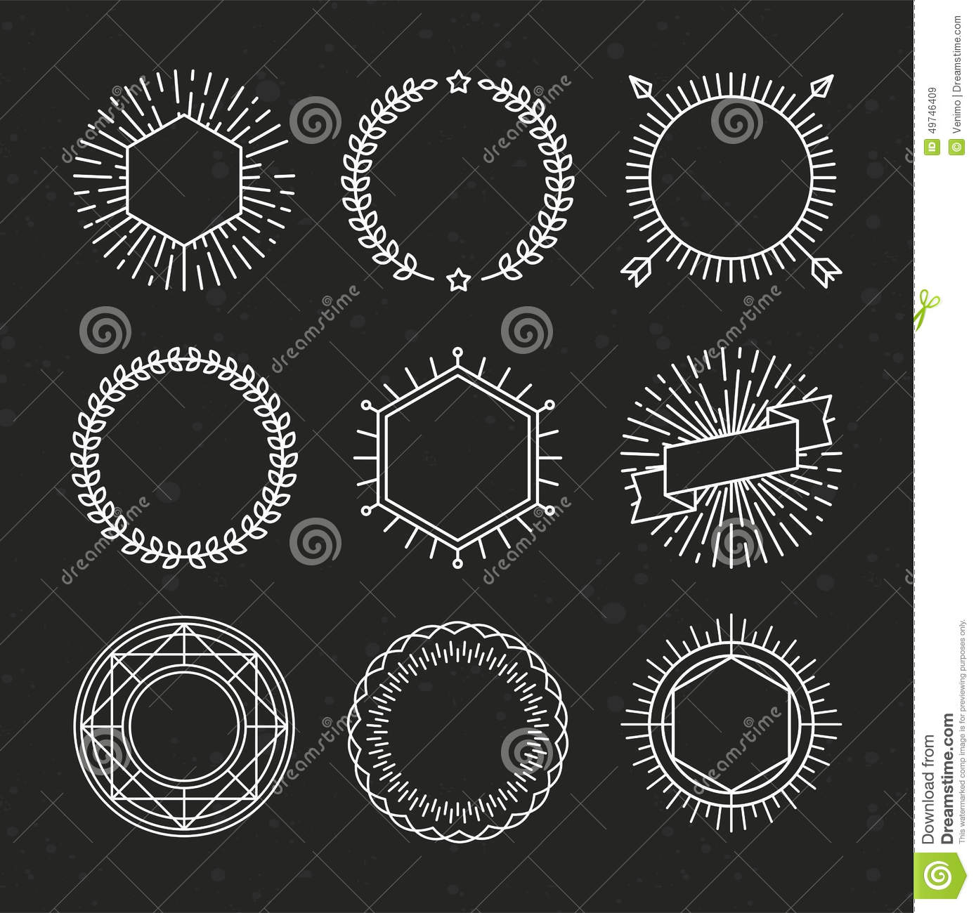 Vector Set Of Outline Emblems And Badges Stock Vector - Image ...