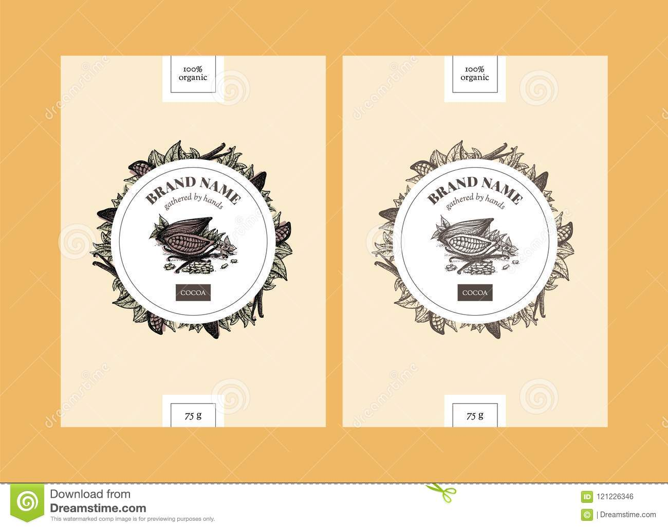 cocoa packaging design templates with circle stock vector