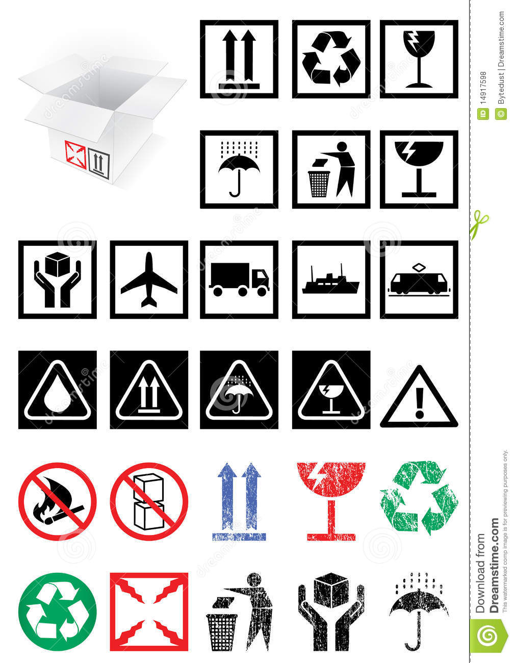 Vector set of packing symbols and labels.