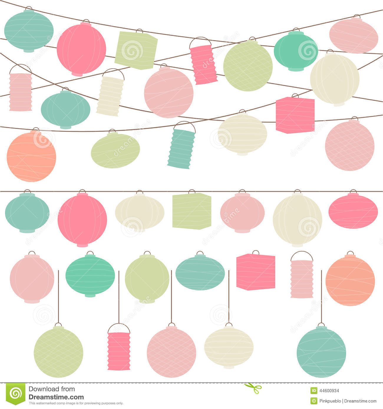 Vector Set Of Pastel Colored Holiday Paper Lanterns Stock