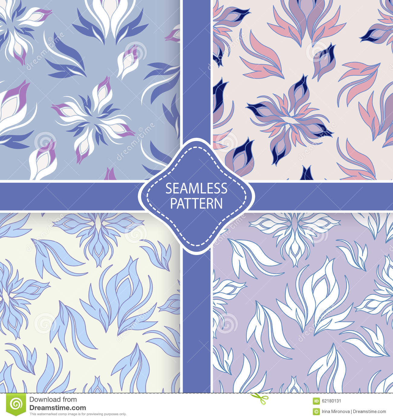 Vector Set Of Pastel Floral Patterns Stock Vector Illustration