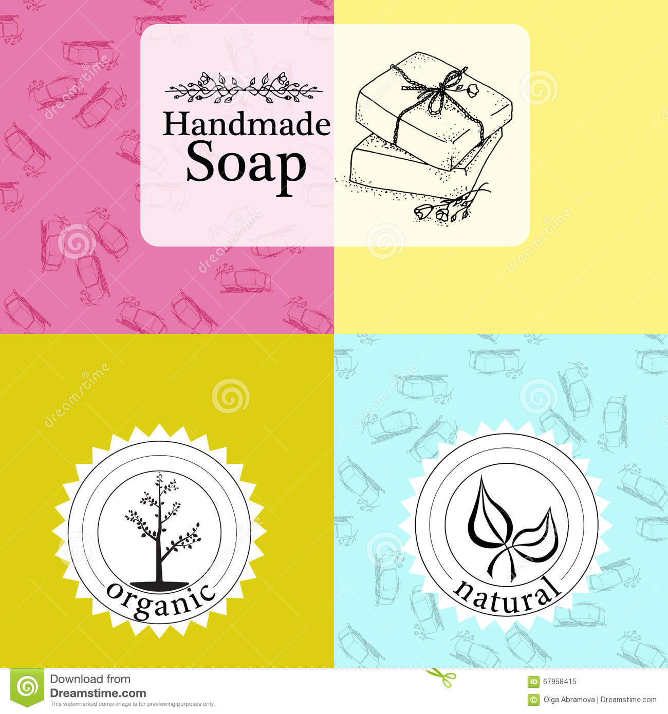 vector set of patterns labels and logo design templates for hand made soap packaging and. Black Bedroom Furniture Sets. Home Design Ideas
