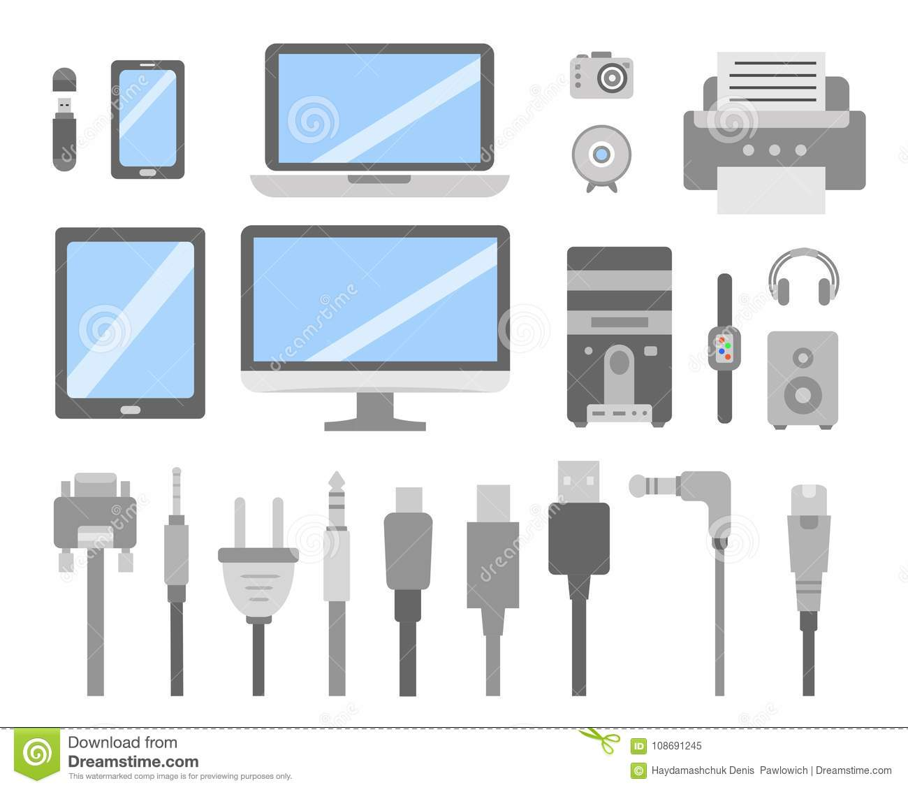 Vector Set Of PC Gadgets And Devices Flat Icons. Cable Wire Computer And  Electricity Plug Collection. Stock Vector - Illustration of electronic,  illustration: 108691245Dreamstime.com