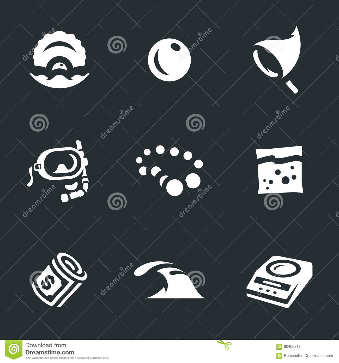 Vector Set of Pearl farm Icons.