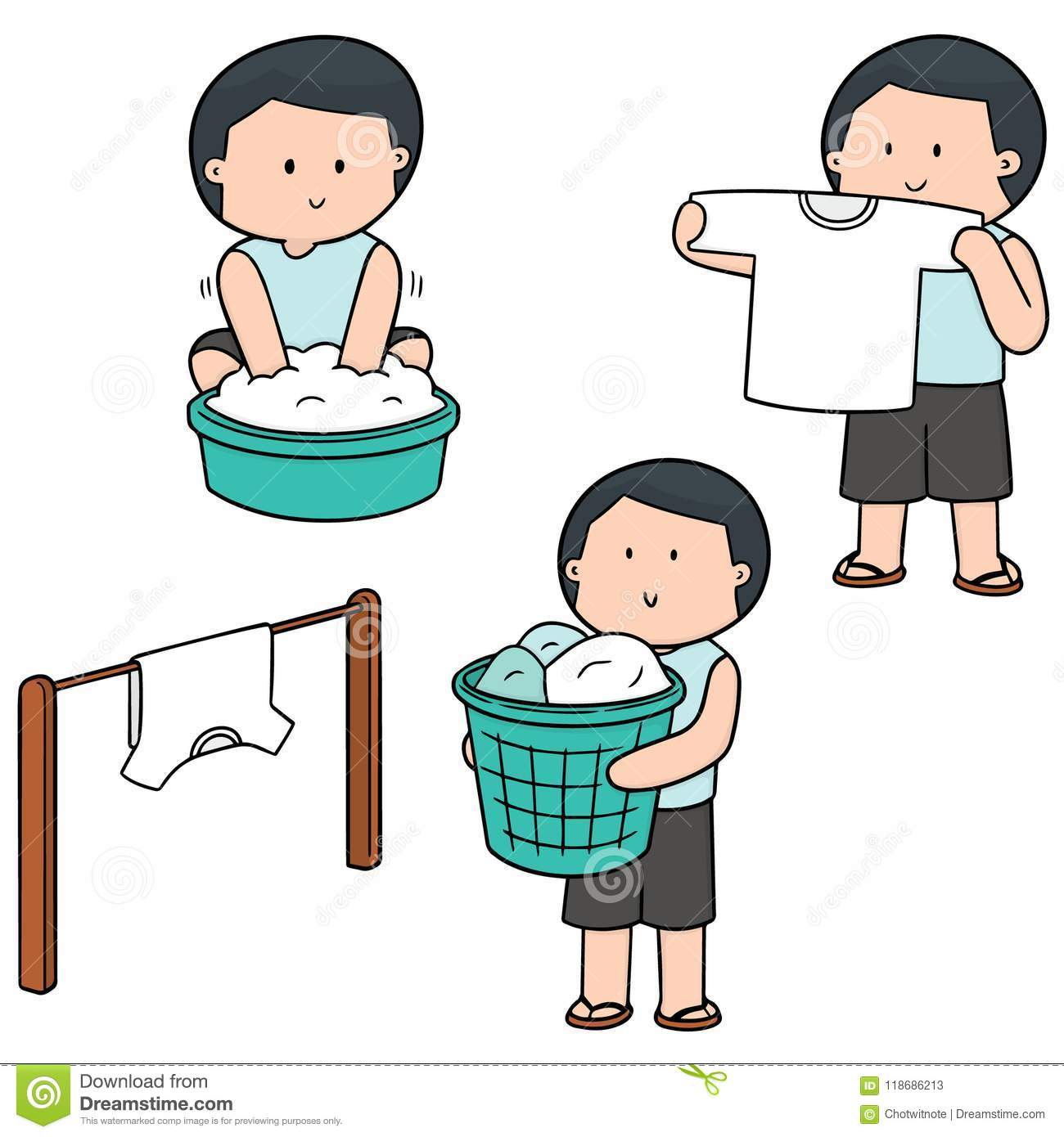 Vector Set Of People Washing Clothes Stock Vector Illustration