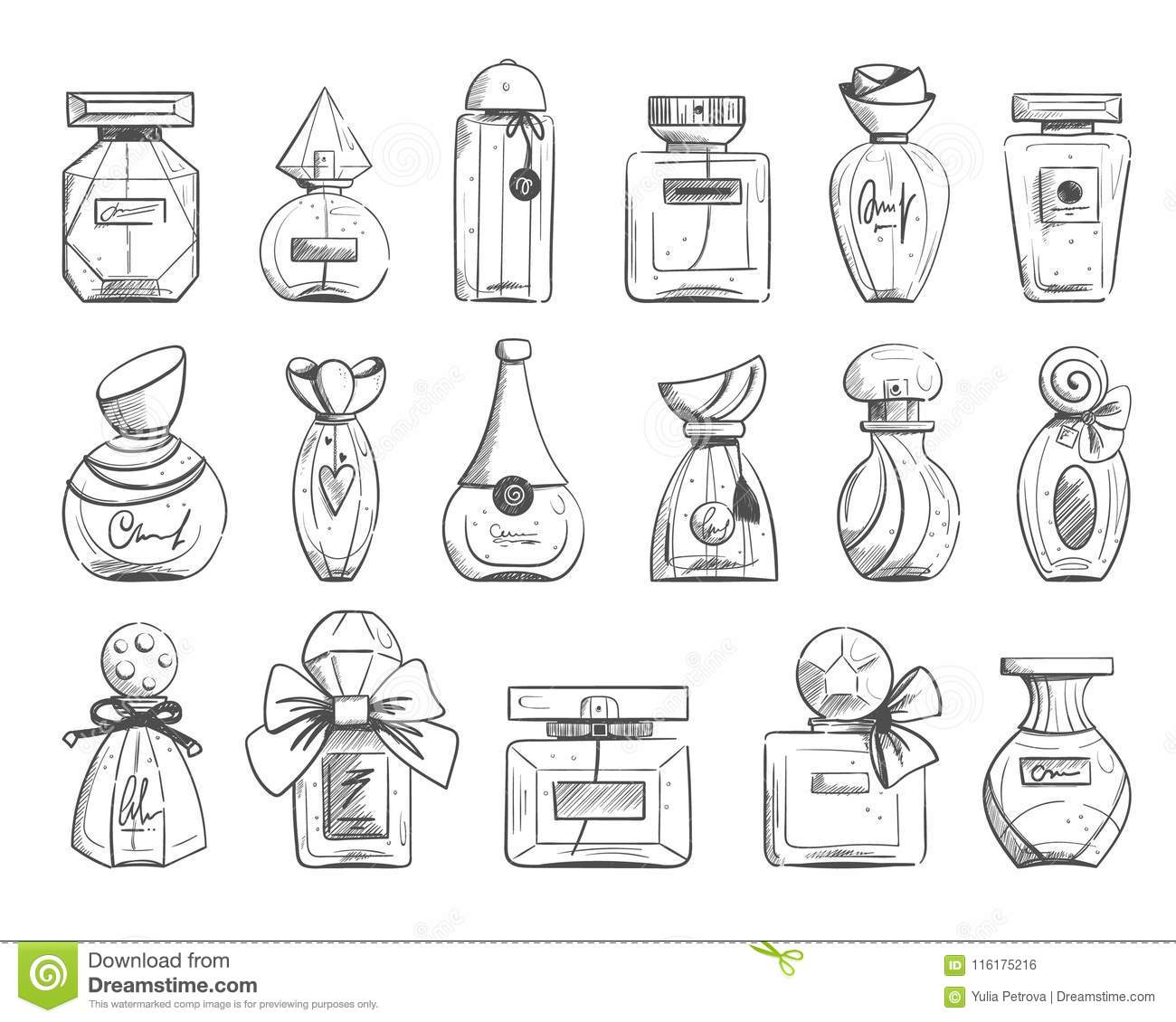 Vector Set Of Perfume Bottle Stock Vector Illustration Of Draw
