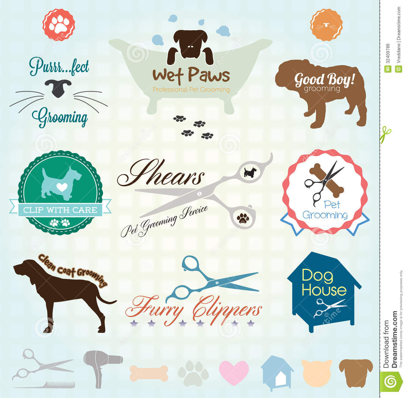 Vector Set Pet Grooming Labels Vector Illustration