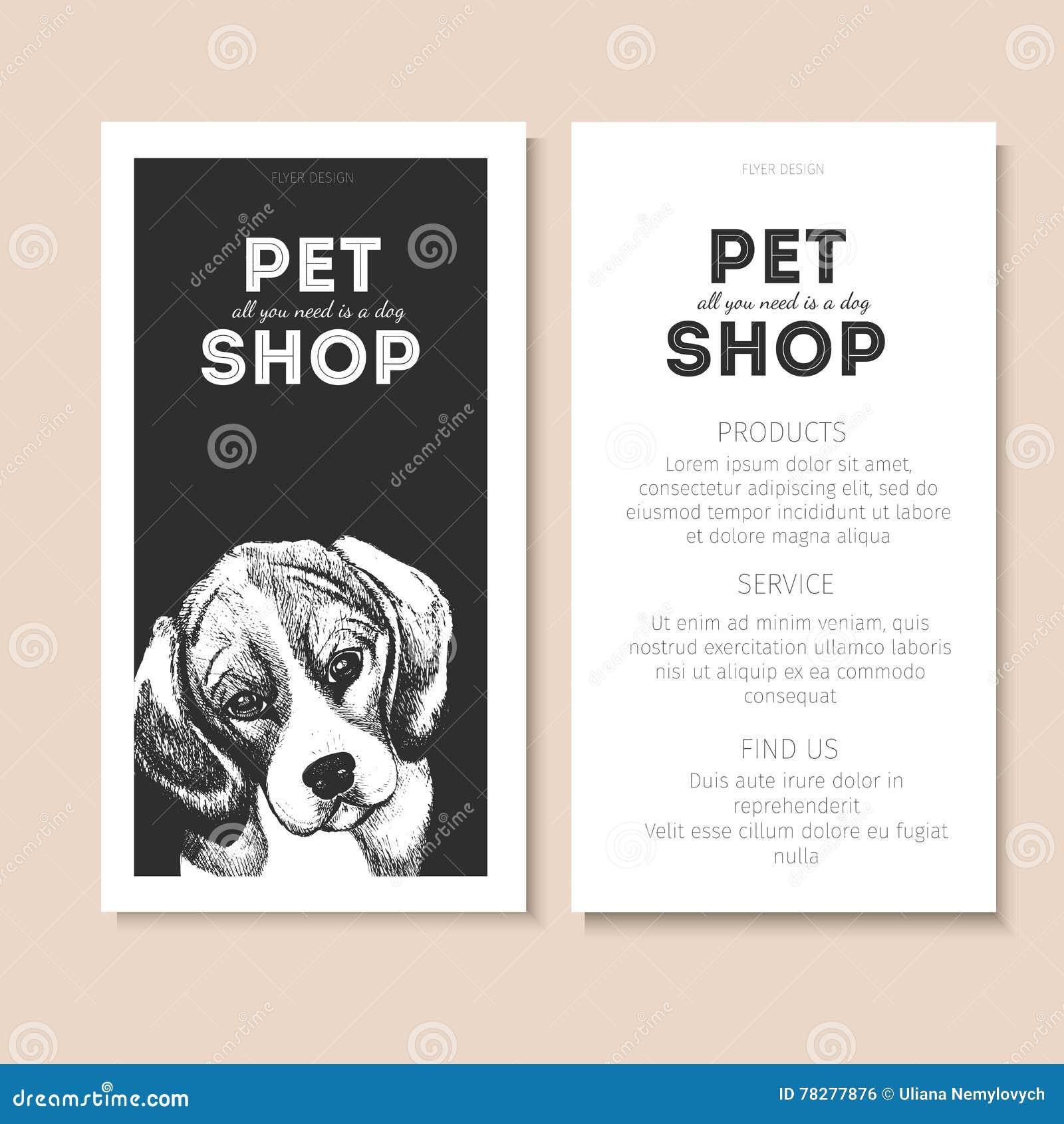 vector set of pet shop flyers dog portrait on black square text vector set of pet shop flyers dog portrait on black square text template white