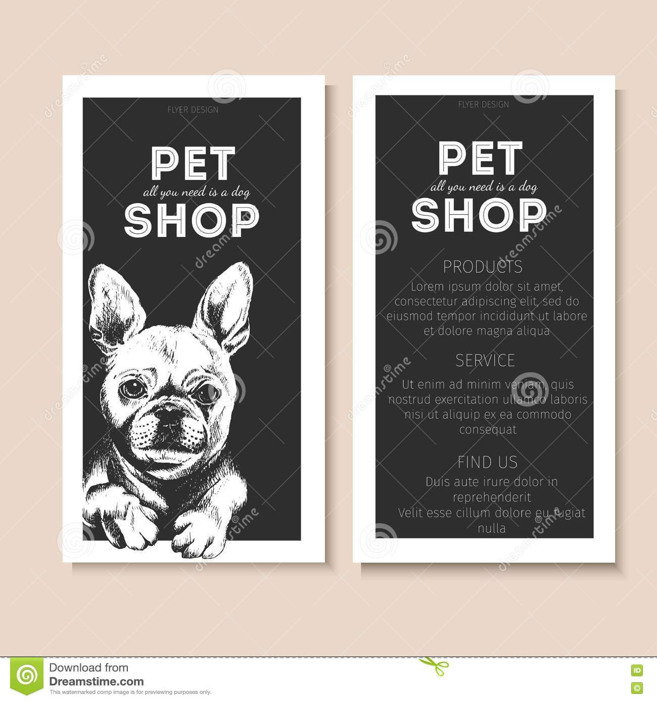 vector set of pet shop flyers  dog portrait isolated on