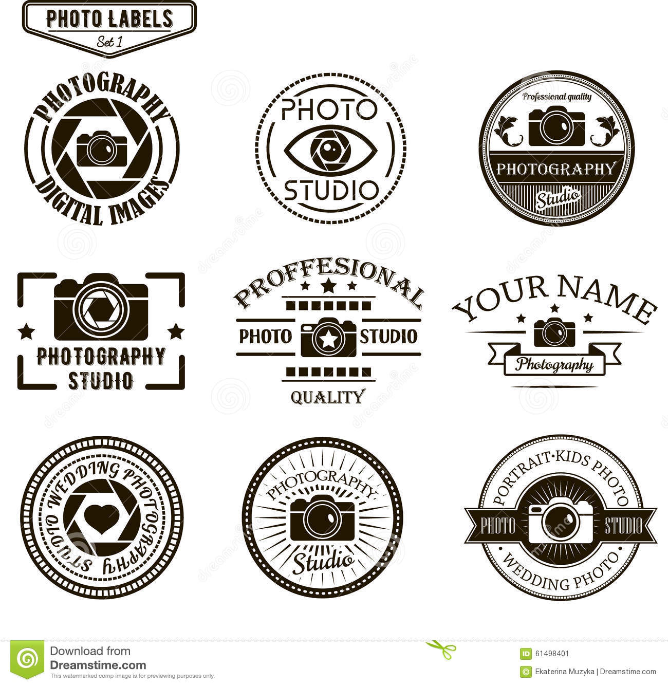 Vector Set Of Photography Logo Templates. Photo Stock Vector ...