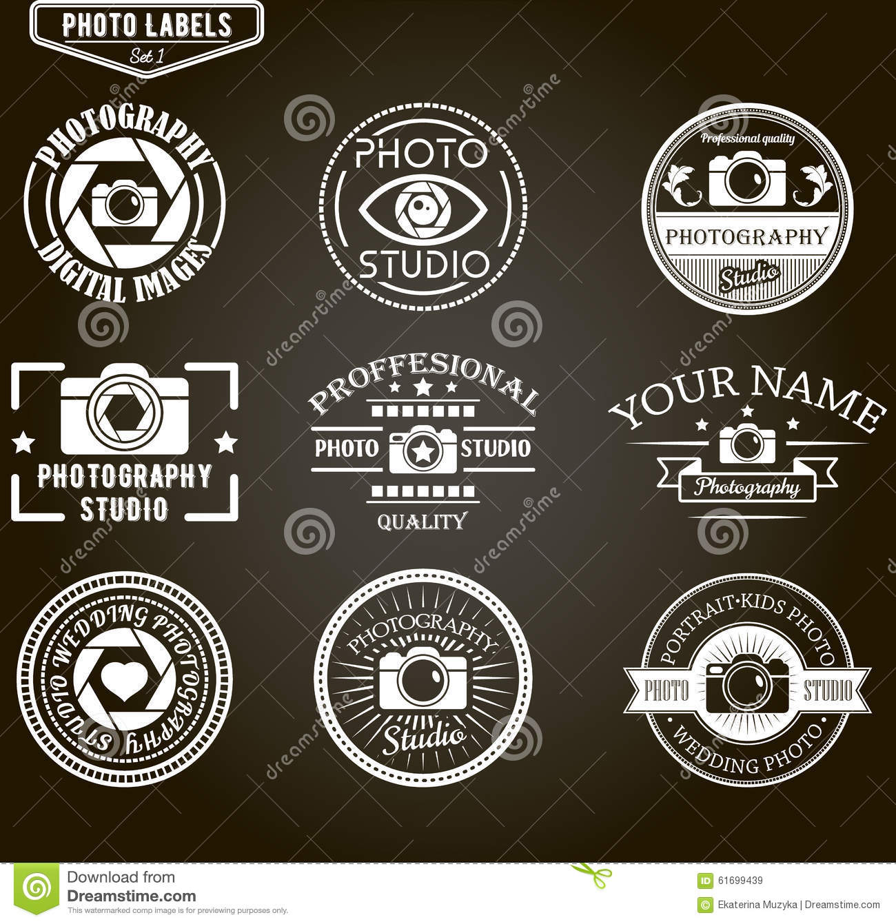 Wedding Photography Studio Logo: Vector Set Of Photography Logo Templates. Photo Stock