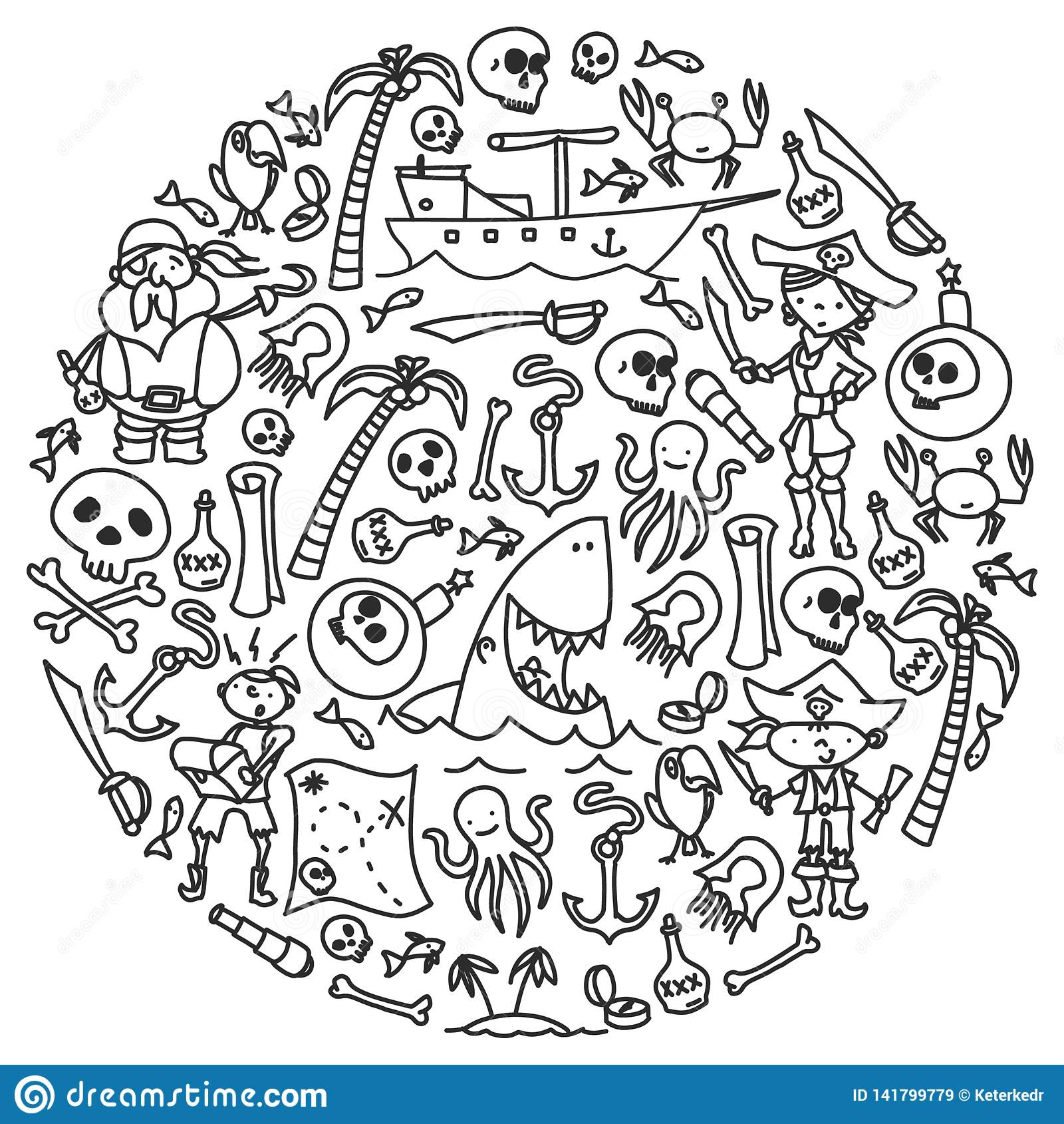 Vector set of pirates children`s drawings icons in doodle style. Painted, black monochrome, pictures on a piece of paper
